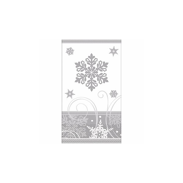 CHRISTMAS SPARKLING WHITE & SILVER TABLECOVER