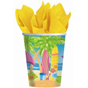 SURFS UP PARTY CUPS - PACK OF 8