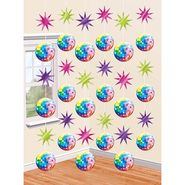 DISCO FEVER HANGING STRINGS PACK OF 6