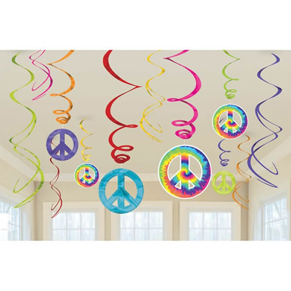TYE DYE FEELING GROOVY HANGING SWIRLS - PACK OF 12