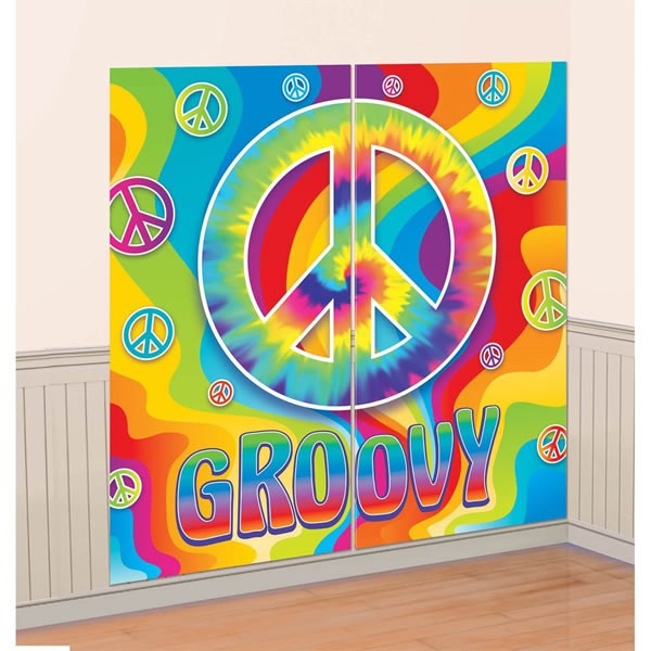 SCENE SETTER - GROOVY PEACE SIGN WALL DECORATING KIT