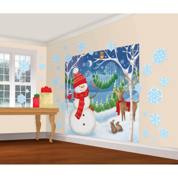 SCENE SETTER - WINTER FRIENDS GIANT DECORATING KIT OF 32 PIECES