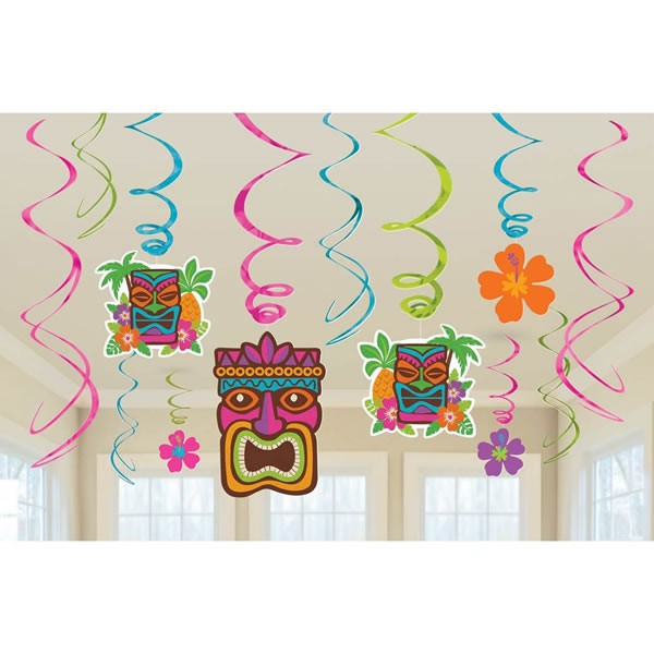 TIKI HANGING SWIRL DECORATIONS - VALUE PACK OF 12