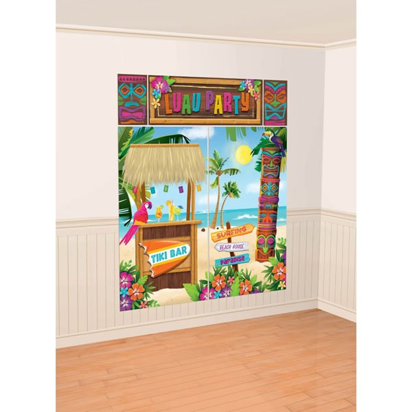 SCENE SETTER - HAWAIIAN/LUAU TIKI WALL DECORATING KIT