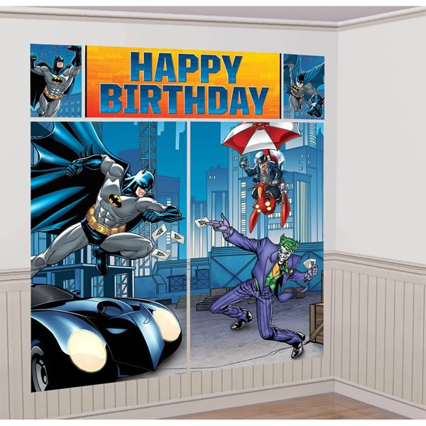 BATMAN HAPPY BIRTHDAY SCENE SETTER WALL DECORATING KIT