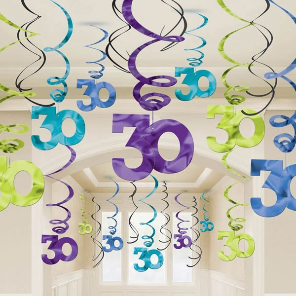 30TH BIRTHDAY HANGING SWIRL DECORATIONS VALUE PACK OF 30