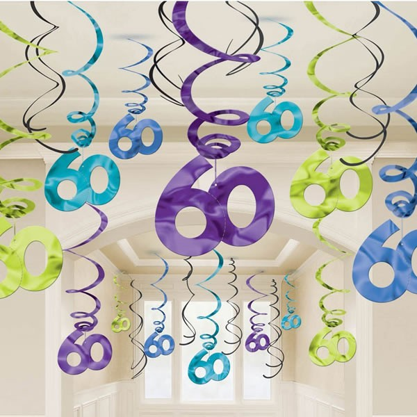 60TH BIRTHDAY HANGING SWIRL DECORATIONS VALUE PACK OF 30