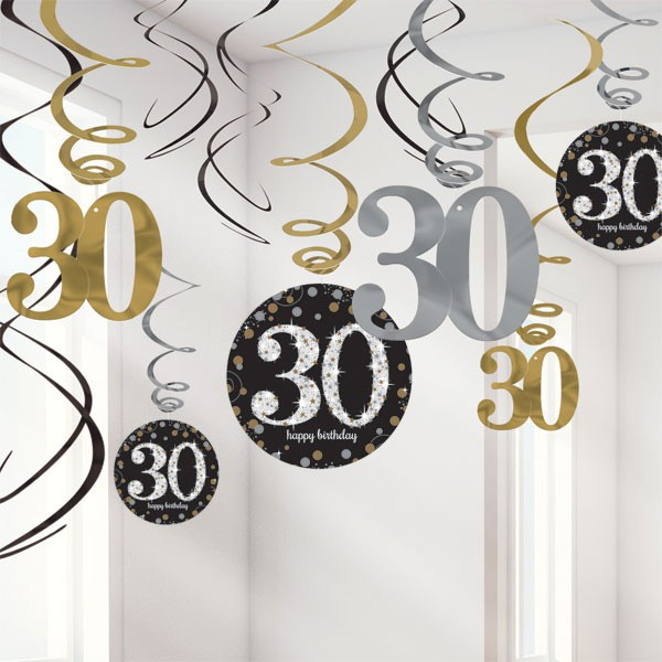 30TH BIRTHDAY SPARKLING HANGING SWIRLS - PACK 12