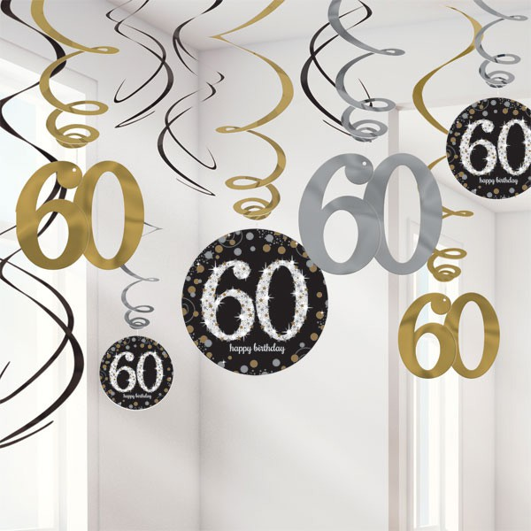 60TH BIRTHDAY HANGING SWIRLS - SPARKLING BLACK PACK 12