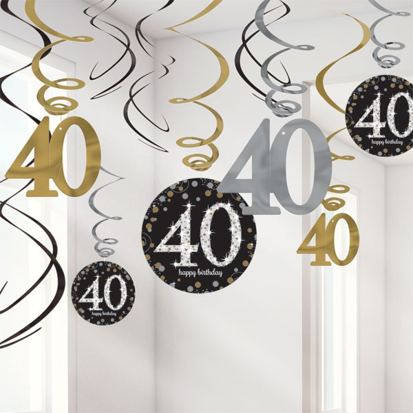 40TH BIRTHDAY SPARKLING HANGING SWIRLS - PACK 12