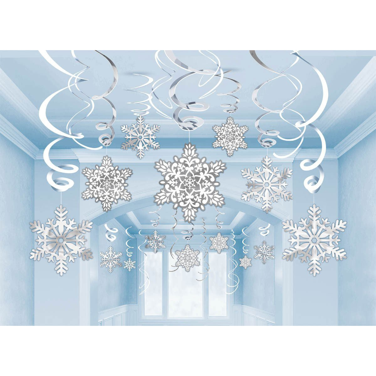 SNOWFLAKES SWIRL DECORATIONS WHITE & SILVER - PACK OF 30