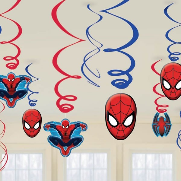SPIDERMAN ULITIMATE SWIRL DECORATIONS - VALUE PACK OF 12