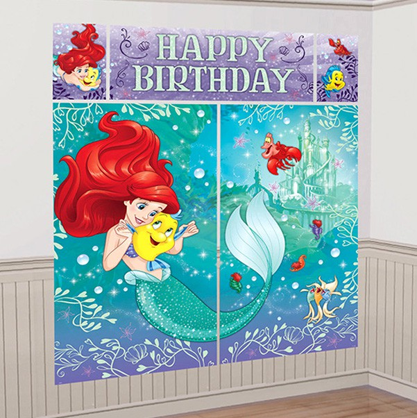 SCENE SETTER - ARIEL HAPPY BIRTHDAY DREAM BIG WALL DECORATION