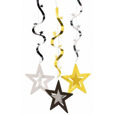 HANGING FOIL STARS DECORATION - GOLD, SILVER & BLACK - PACK 3