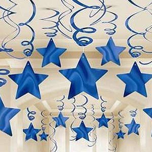 STAR HANGING SWIRL DECORATION BLUE PACK OF 30