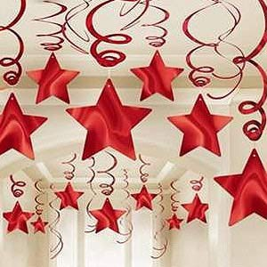 STAR HANGING SWIRL DECORATION RED PACK OF 30