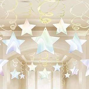 hanging iridescent stars