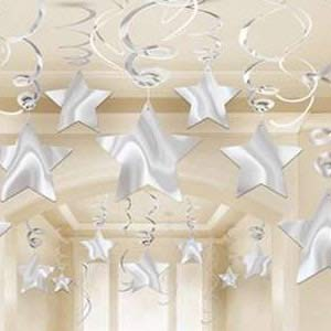STAR HANGING SWIRL DECORATION SILVER PACK OF 30