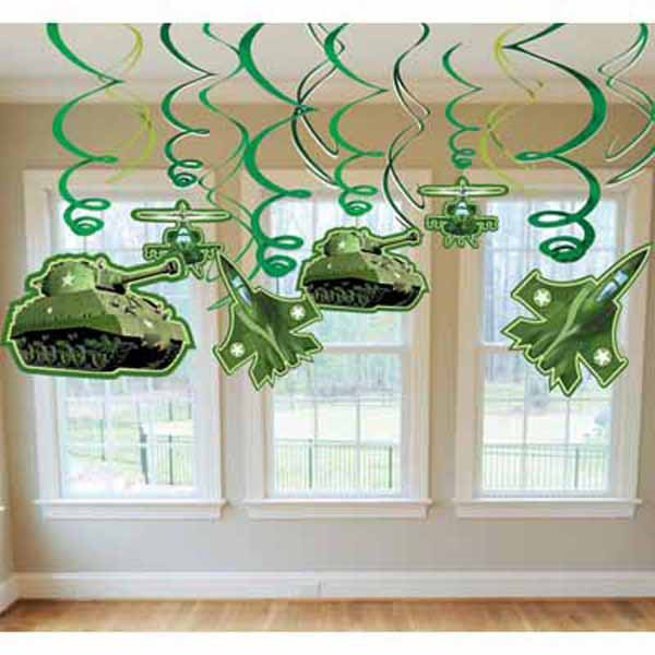 CAMOUFLAGE PARTY HANGING FOIL SWIRLS - PACK OF 12