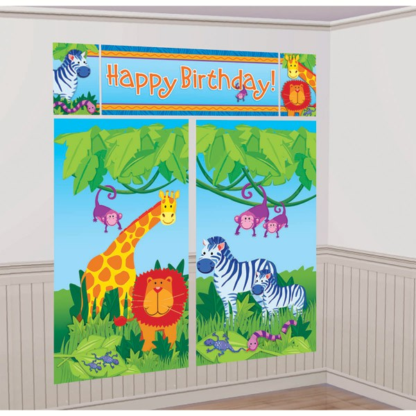 JUNGLE ANIMALS 'HAPPY BIRTHDAY' SCENE SETTER