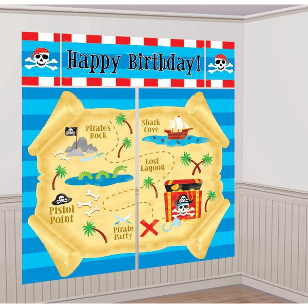 SCENE SETTER - PIRATE TREASURE MAP! HAPPY BIRTHDAY WALL BACKDROP