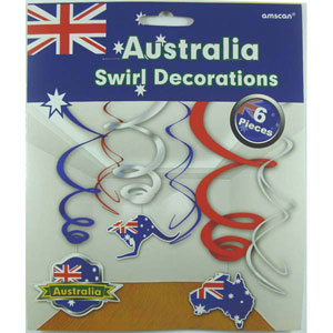 AUSTRALIA DAY MINI HANGING SWIRLS PACK OF 6