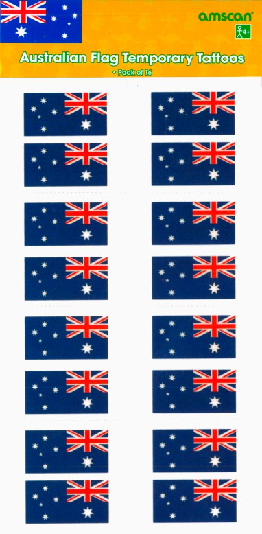 AUSSIE TEMPORARY TATTOO - AUSTRALIAN FLAGS