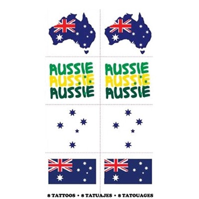 AUSSIE TEMPRARY FLAG TATTOOS IN 4 ASSORTED DESIGNS - PACK OF 8
