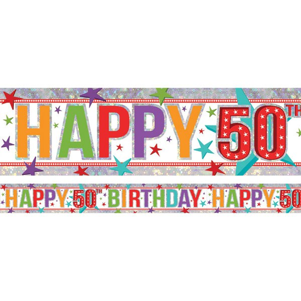 50TH BIRTHDAY BANNER - MULTI COLOURED