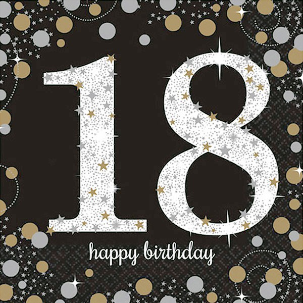 18TH BIRTHDAY NAPKINS - SPARKLING BLACK & GOLD PACK OF 16