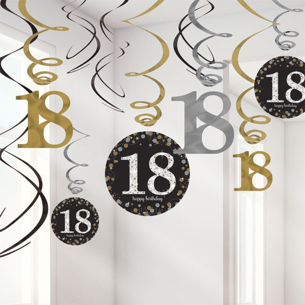18TH BIRTHDAY SPARKLING HANGING SWIRLS - PACK 12