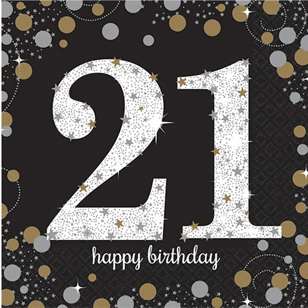 21ST BIRTHDAY NAPKINS - SPARKLING BLACK & GOLD PACK OF 16