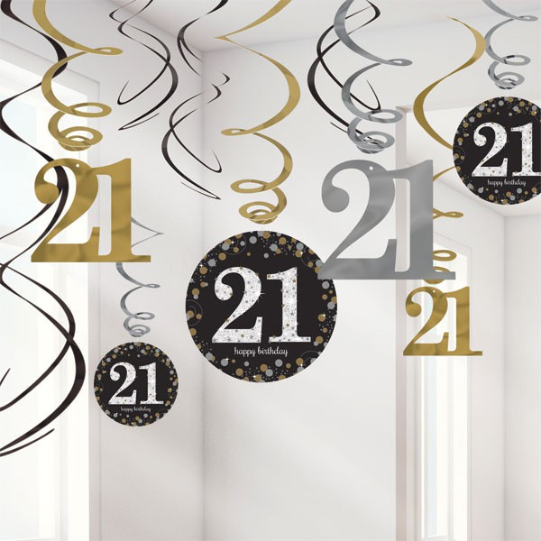 21ST BIRTHDAY HANGING SWIRLS - SPARKLING BLACK PACK 12