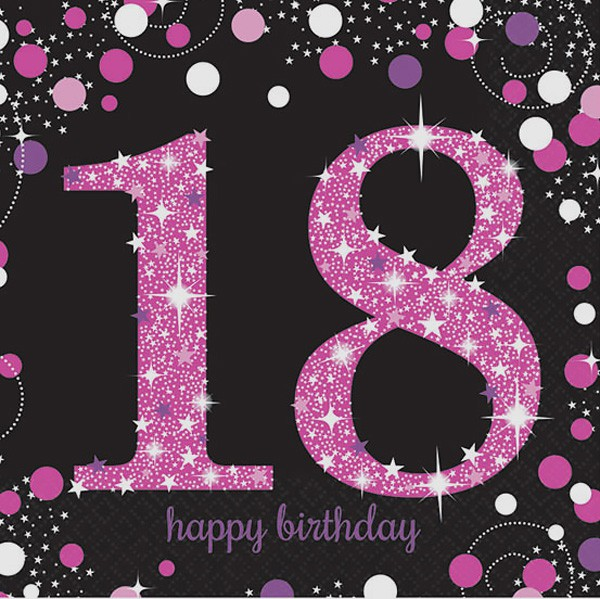 18TH BIRTHDAY NAPKINS - SPARKLING PINK PACK OF 16