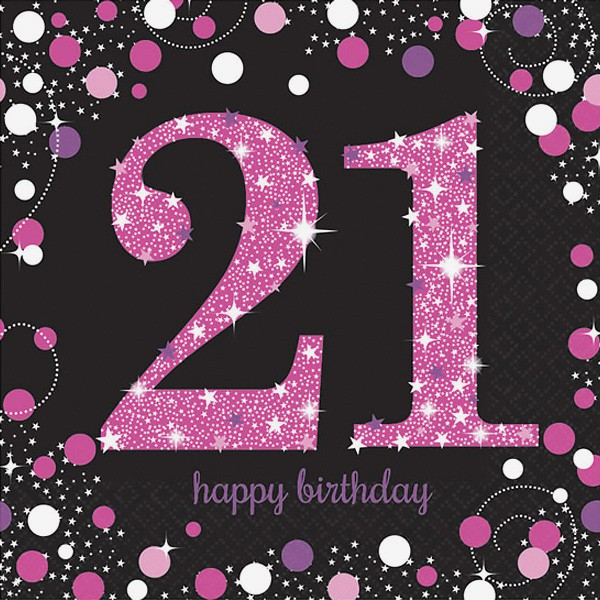 21ST BIRTHDAY NAPKINS - SPARKLING PINK PACK OF 16