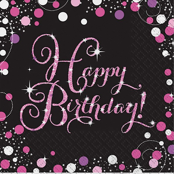 HAPPY BIRTHDAY PINK SPARKLE NAPKINS PACK OF 16
