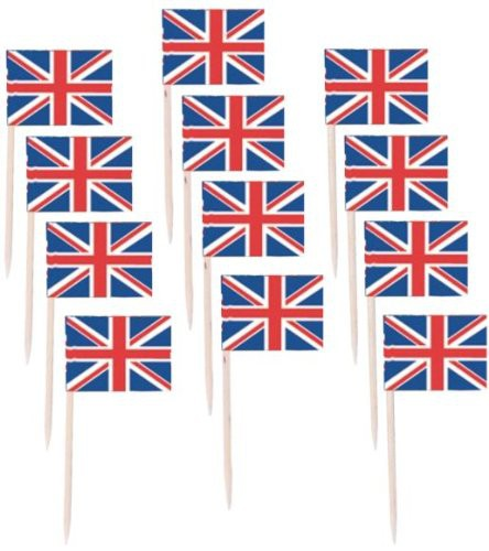 BRITISH UNION JACK TOOTH PICKS PACK OF 50