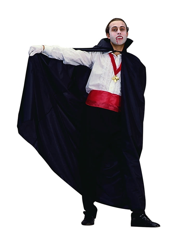 ADULT LONG BLACK SATIN VAMPIRE CAPE WITH COLLAR