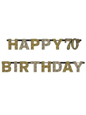 70TH BIRTHDAY BANNER - SPARKLING BLACK, GOLD N SILVER
