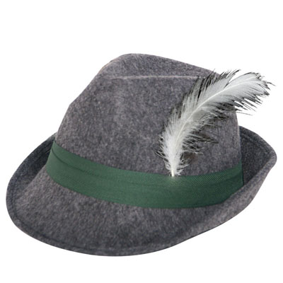 ALPINE MALE HAT - GREY FLOCKED WITH WITH FEATHER