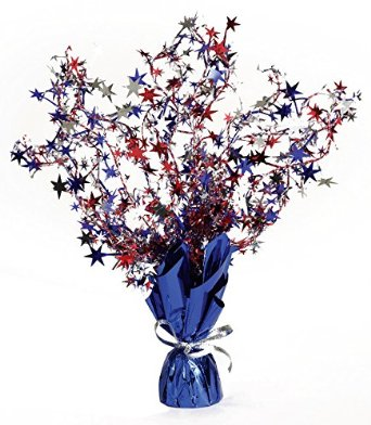 Image of Balloon Weight  Red, Silver & Blue Stars With Blue Base