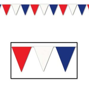 AMERICAN - OUTDOOR PENNANT BANNER RED, WHITE & BLUE 9M