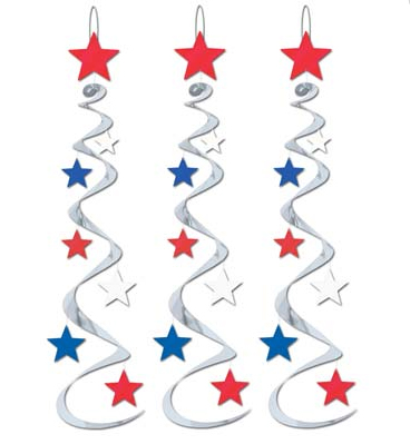 AMERICAN PATRIOTIC STAR WHIRLS PACK OF 3