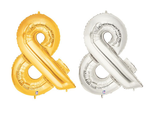 FOIL BALLOON SUPER SHAPE SYMBOL AMPERSAND \'&\' - GOLD OR SILVER