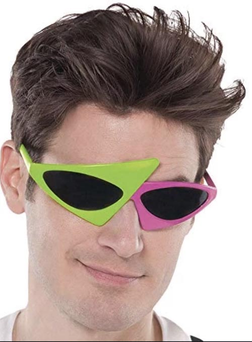 1980\'S ASYMMETRICAL GLASSES IN NEON PINK & LIME