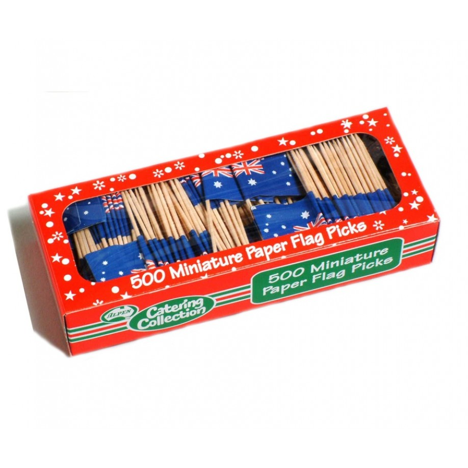 AUSTRALIAN FLAG TOOTH PICKS PK 500