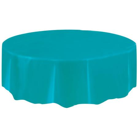 DISPOSABLE TABLECOVER - CIRCULAR AZURE BLUE