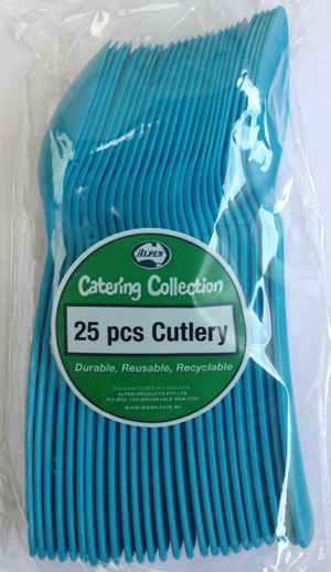 DISPOSABLE CUTLERY - AZURE BLUE SPOONS PK 25