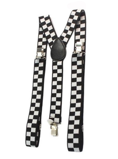 BRACES/SUSPENDERS - BLACK & WHITE CHECK - GANGSTER OR 1920\'S