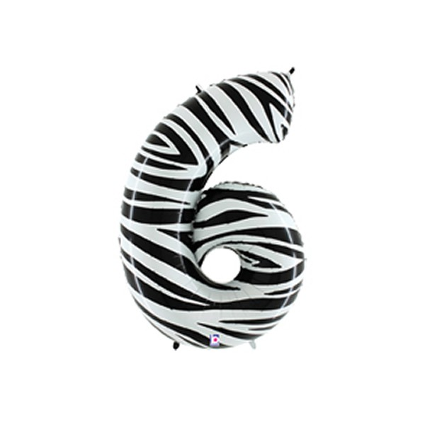 FOIL BALLOON SUPER SHAPE - NUMBER SIX ZEBRA PRINT